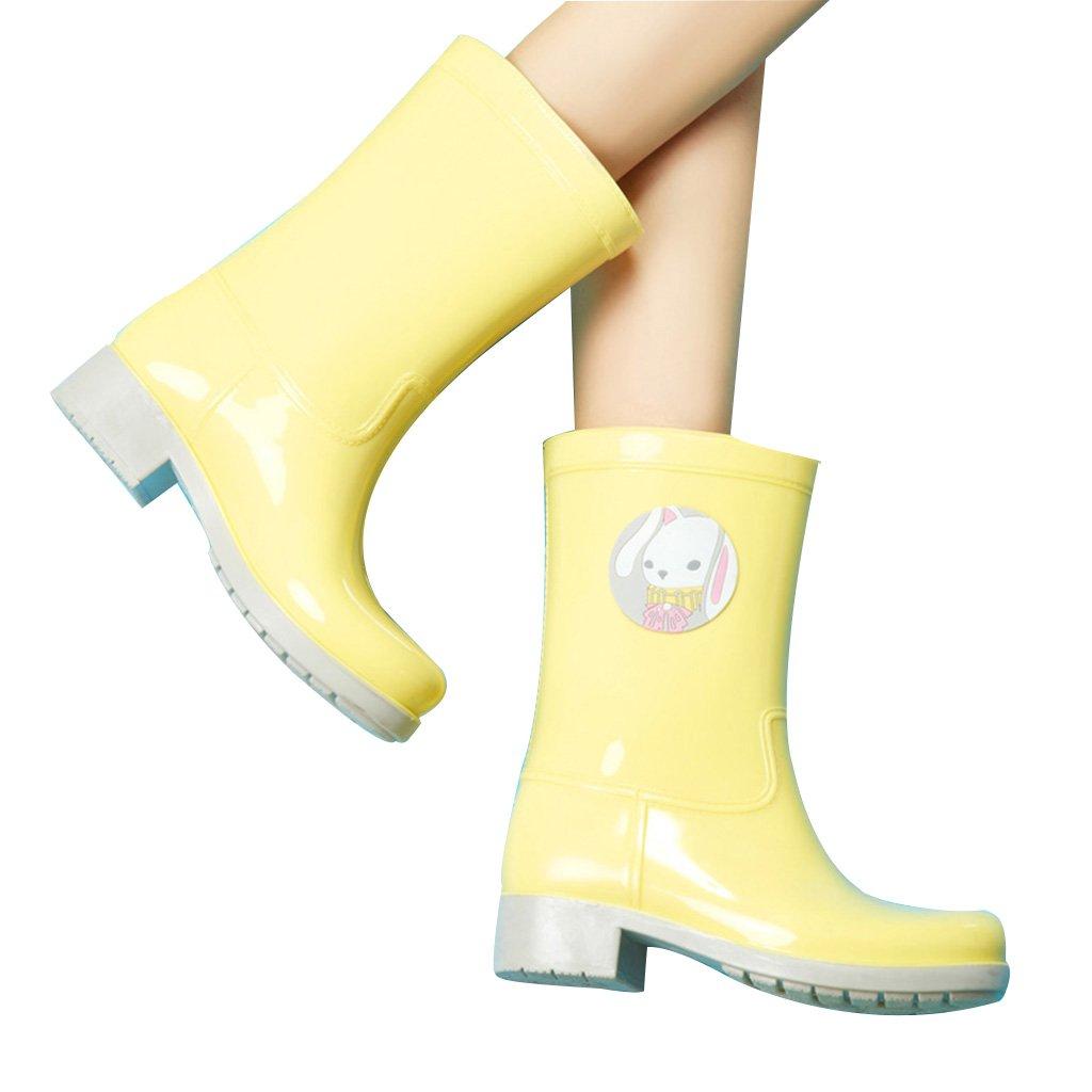 Frühlings- und Sommerart und weise Female Regenstiefel wasserdicht Rutschfeste Gummiüberschuhe PVC PVC Gummiüberschuhe 39 Größe Alle Farben sind halbe Größe größer als normale Größe ( Farbe : Yellow , Größe : 39 ) Yellow 224a34