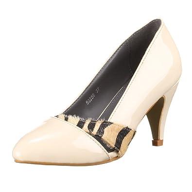 46c6b6b79e7b Ital-Design 50256 Escarpins modernes Aspect cuir verni Pour femme - beige -  beige