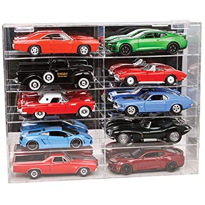 10 Car Acrylic Display Show Case for 1/24-1/25 Scale Models by Autoworld AWDC016: Toys & Games