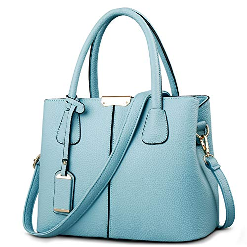 Top Womens Large Casual Vintage Soft Blue Shoulder Bags b Handbags Leather handle Retro Light Tote Ruitian Capacity Ig8xfgd