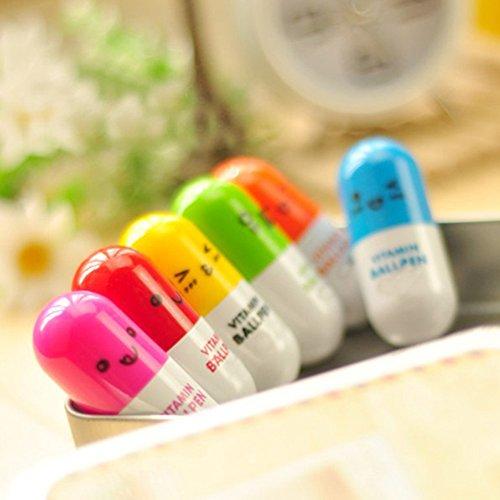 pusheng 6pcs ausziehbarem Mini Pille Kugelschreiber niedliche Kapsel Kugelschreiber Geschenk (zufällige Farbe)