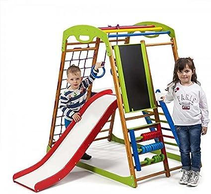 Centro de actividades con tobogán ˝Babywood-Plus-3˝, red de escalada, anillos, escalera sueco, campo de juego infantil: Amazon.es: Bebé
