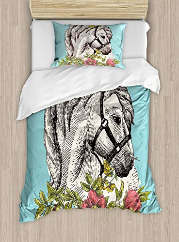 Ambesonne Floral Duvet Cover Set Twin Size, Boho Style Horse Opium Blossoms Poppy Wreath Equestrian Illustration, Decorative 2 Piece Bedding Set with 1 Pillow Sham, Turquoise Green