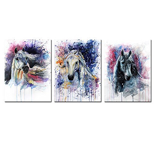 DZL Art D70234 Canvas Wall Art Horse Painting Prints on Canvas Framed Ready to Hang-3 Panels Watercolor Horses Prints Fine Art for Home Decor