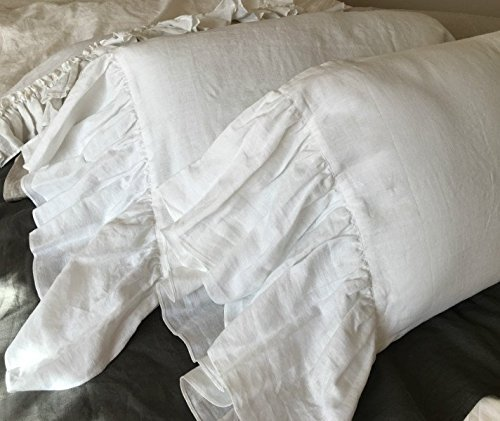 A pair of White Linen Pillow Covers with mermaid long ruffles, Shabby Chic Pillow Cases, Ruffle Pillow Cover, Ruffle Pillow Protector, Handmade 100% Flex Linen, FREE SHIPPING by SuperiorCustomLinens