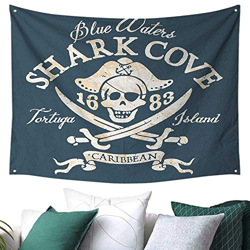 - WilliamsDecor Pirate Queen Size Tapestry for Dorm Shark Cove Tortuga Island Caribbean Waters Retro Jolly Roger College/Dorm Decoration 72W x 54L Inch Slate Blue White Light Mustard