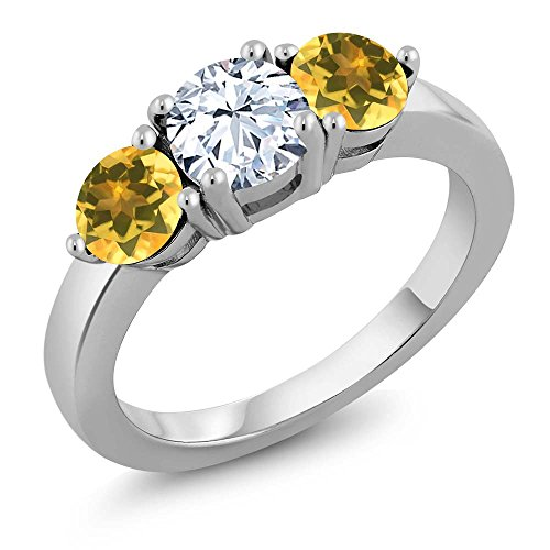 Gem Stone King 1.74 Ct Round White Zirconia Yellow Citrine 925 Sterling Silver Ring (Size 8)