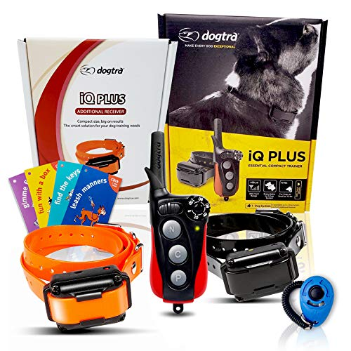 Dogtra IQ Plus Remote Training Collar - Plus Additional Receiver Collar, 400 Yard Range, Rechargeable, Waterproof - Plus 1 iClick Training Card, Jestik Click Trainer - Value Bundle
