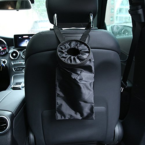 Home and Vehicle Use Machine Washable Reusable for Travelling Keador 2 Pack Car Trash Bags with Adjustable Strap Vehicle Garbage Bags Trash Bags for Car Front and Back Seat Black Outdoor