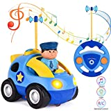 Eholder RC Police Car, Mini Cartoon Race Cars for Toddlers, Kids, Boys, Girls Electric RC Vehicles...