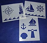 Mylar 3 Pieces of 14 Mil 8'' X 10'' Nautical Stencils- Painting /Crafts/ Templates