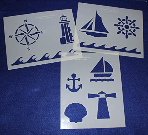 Mylar 3 Pieces of 14 Mil 8'' X 10'' Nautical Stencils- Painting /Crafts/ Templates by TCR Templates