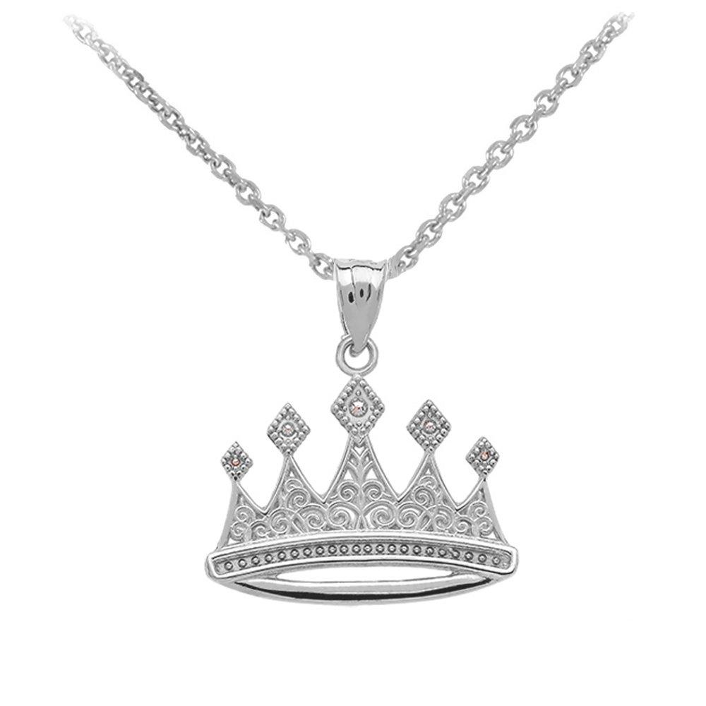 Royal 14k White Gold Crown Charm Pendant Necklace 20