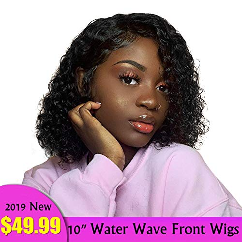 Olga Lace Front Wigs Human Hair Water Wave 10inches 13x4 Short Bob Full Lace Front Curly Wigs with Baby Hair 150% Density Pre Plucked Hairline 9A Vigirn Brazilian Human Hair Wigs ()