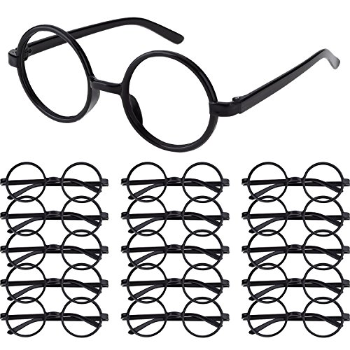 16 Pack Plastic Wizard Glasses Round Glasses Frame No Lenses for Halloween Costume Party Supplies (Black) By Erlvery -