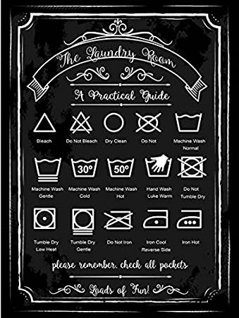 Laundry Guide Metal Sign, Home Decor, Modern Decor, Laundry Room Decoration