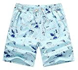 AIEOE Cotton Gym Shorts Quick Dry Flat Front Casual 1/2 Pants Chic Soft Mens Breathable Lightweight Flat Front Boardshorts 2XL - Light Bule