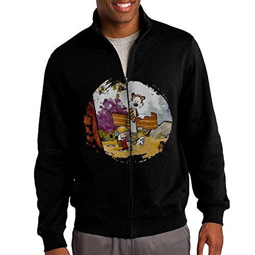 [ILKU Men's Calvin And Hobbes Zip-Up Hoodies Jacket Black Size S] (Calvin And Hobbes Couple Costume)