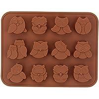 Sungpunet - Stampo in silicone riutilizzabile con 12cavità a forma di gufo, per realizzare gelatine, dolcetti, biscotti, cioccolatini, torte