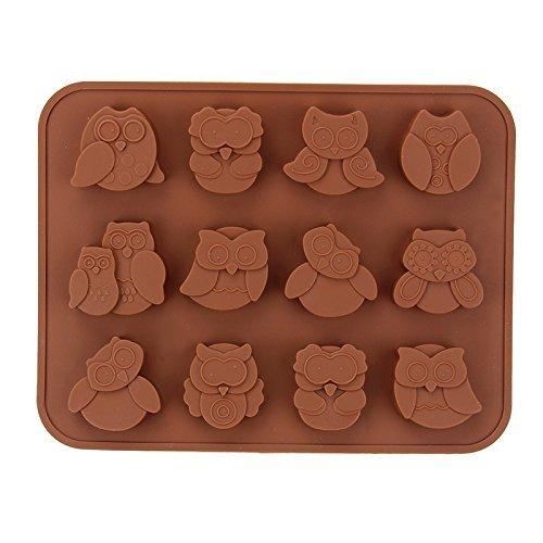 Sungpunet 12cavités réutilisables chouettes Moule en silicone de bonbons Biscuits chocolats Moule à gâteau DIY PHX