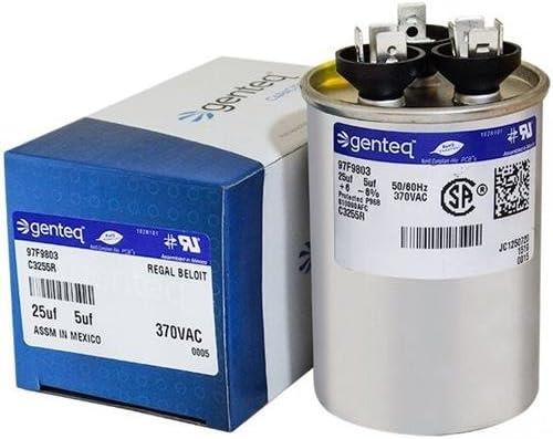97F9803-25 5 uf MFD 370 Volt VAC GE Round Dual Run Capacitor Upgrade
