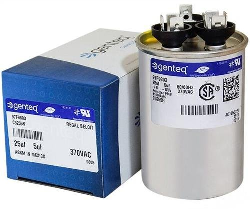 GE Genteq Capacitor round 25/5 uf MFD 370 volt 97F9803, 25 + 5 MFD at 370 volts by Genteq