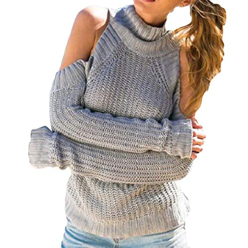 JESPER Women Fashion Solid Long Sleeve Top Knitted Turtleneck Sweater Strapless Blouse Gray by JESPER
