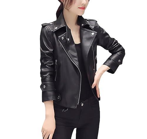Chaquetas Mujer De Cuero Moto Cortas Fiesta Negras Chaqueta Pu Cuero Con Cremallera Elegantes Otoño ...