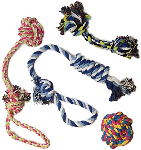 Keistore Puppy Dog Pet Rope Toys 4 Pack Gift Set – Durable Dog Rope Toys For Small to Medium Dogs – Puppy Teething Toy with Dog Interactive Play with rope