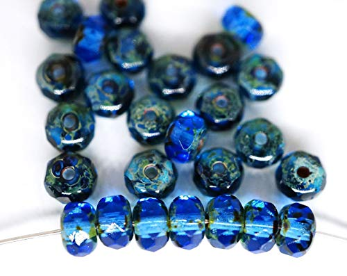 - 40pcs Picasso Brown Crystal Sapphire Blue Round Czech Glass Rondelle Faceted Fire Polished Beads 5mm x 3mm
