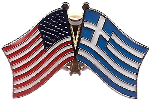 PACK of 3 Greece & US Crossed Double Flag Lapel Pins, Greek & American Friendship Pin Badge (Dome Lapel Pin)