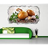 3D Wandtattoo Zwiebel Knoblauch Küche Gemüse Wand Aufkleber Durchbruch Stein selbstklebend Wandbild Wandsticker 11N926, Wandbild Größe F:ca. 97cmx57cm