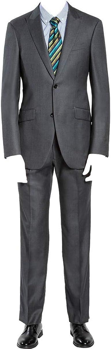 HBDesign Mens 2 Piece 2 Button Notch Lapel Slim Trim Fit Formal Suite Grey