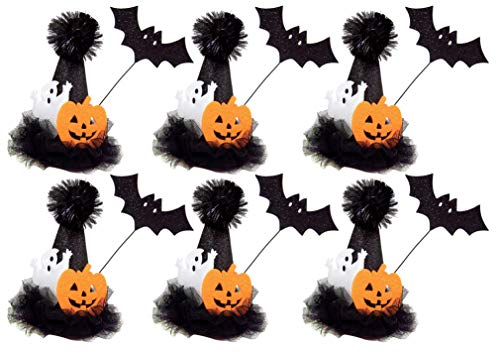 Ghost, Pumpkin and Bat Black Halloween Hair Clip Mini Witch Hat for Girls and Women, Packof6 -