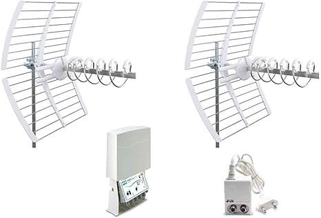 Fracarro Kit 12 EVO Antena Digital Terrestre 2 Antenas Elika + Amplificador + Alimentador 217943
