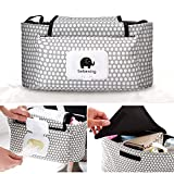 Pram Buggy Organiser Storage Bag for Buggies, Diaper Bag Hanging Bottle Holder for Pushchair, with Straps & Clips(White Dots)