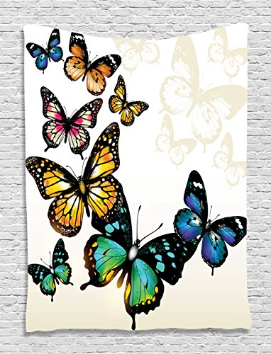 Ambesonne Butterfly Tapestry, Vivid Monarch Butterflies Flying Shades Shadows Dreamlike Artsy Fantasy Display, Wall Hanging for Bedroom Living Room Dorm, 40 W X 60 L Inches, Blue Pink