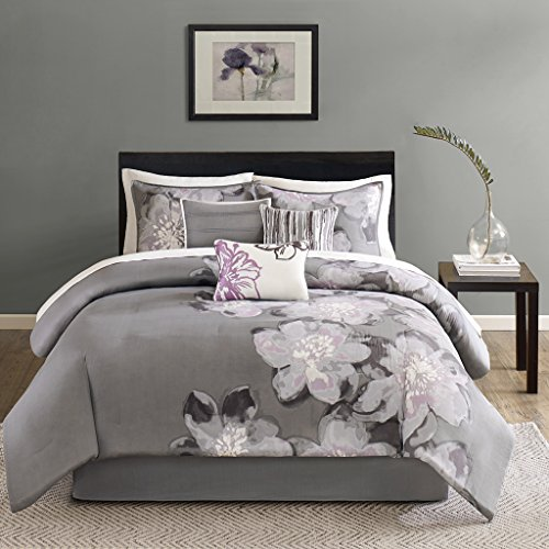 Madison Park Serena Queen Size Bed Comforter Set Bed in A Bag - Grey, Floral – 7 Pieces Bedding Sets – Sateen Cotton Bedroom Comforters ()