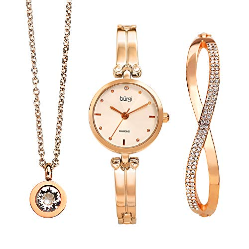 Burgi Women's Jewelry Gift Set - Half Bangle Diamond Watch, Swarovski Crystal Pendant Necklace and Bracelet - Rose Gold Flash Plated - BUR212RG-S ()
