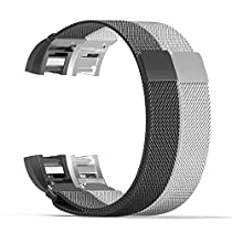 Fitbit Charge 2 Band, MoKo [2PCS] Milanese Loop Stainless Steel Bracelet Smart Watch Strap + Connector for 2016 Fitbit Charge 2 Heart Rate + Fitness Wristband, Wrist Length 5.31