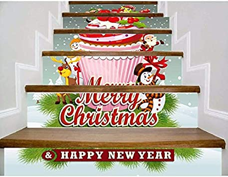 Adhesivo De Escalera Etiqueta Engomada De La Escalera Del Regalo De La Torta Del Cartón De La Feliz Año Nuevo (100 * 18cm)*13pcs: Amazon.es: Bricolaje y herramientas