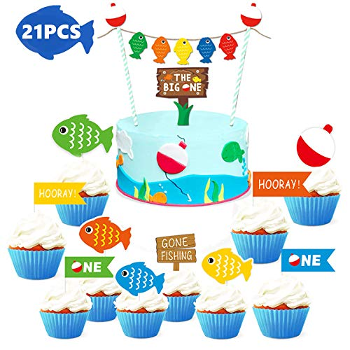 Peachy Obuy Fishing Birthday Cake Topper Gone Fishing Cupcake Toppers The Personalised Birthday Cards Cominlily Jamesorg