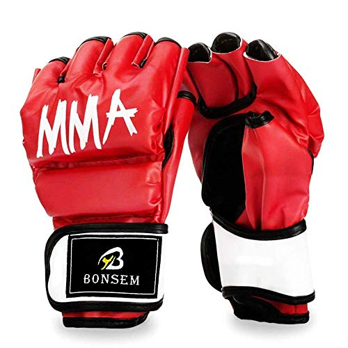 Qucei Half-Finger MMA Boxing Fight Gloves with Adjustable Wrist Band Thick Padding for Punching Heavy Bag Kickboxing Class Muay Thai Martial Arts Trainer Mitts – Sports Center Store