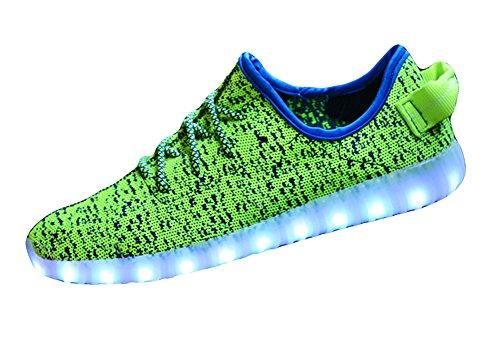 Flasher Le Sport Filer Vert De Jds Fortuning Dentelle Adulte Unisexe Up Chaussures En Cuir Incandescentes Usb Charge