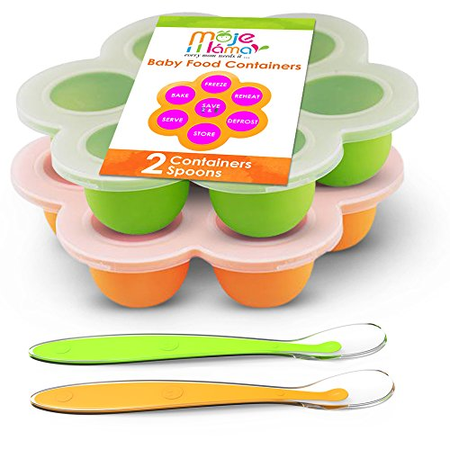 Best Homemade Baby Food Storage Container Freezer Trays - Reusable Food Container Silicon Tray With Clip On Lid - 2 Pack Bundle With 2 Bonus Spoons - BPA Free FDA Approved 2.6 Ounce - Green & Orange from Best Healthy Homemade Food Storage Container
