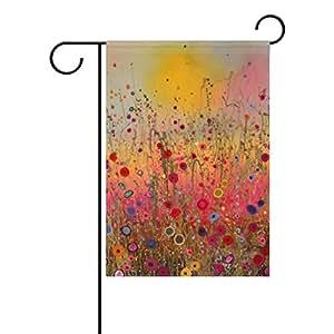Naturaleza Primavera Verano Otoño Invierno flores poliéster de temporada Watercolor decorativo jardín bandera 12x 18inch, arte abstracto flores al aire libre Bienvenido bandera Banner para boda Home Garden Decor