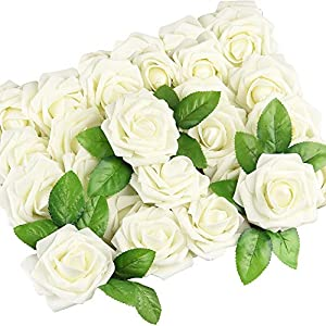 FEPITO 25 Pieces Artificial Flower Rose Real Looking Faux Roses DIY Wedding Bouquets Home Office Shop Hotel Supermarket Decorations 4