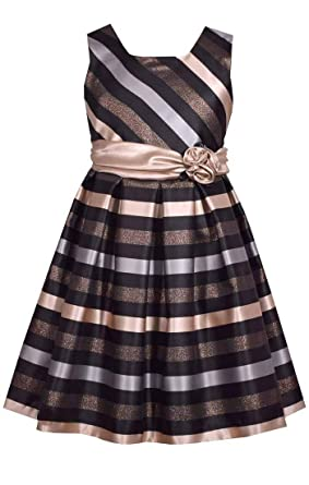 bec86b4992637e Amazon.com  Bonnie Jean Big Girl s 7-16 Holiday Christmas Sleeveless Stripe  Metallic Party Dress  Clothing