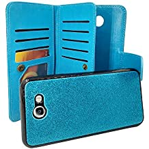 Samsung Galaxy J7 V, J7 Sky Pro, J7 Perx, SM-J727, J7 [2017] Customerfirst PU Leather Wallet Case Designers ID Card Slots Shock Impact Full Body Protection Flip Kickstand Bling case (Blue)