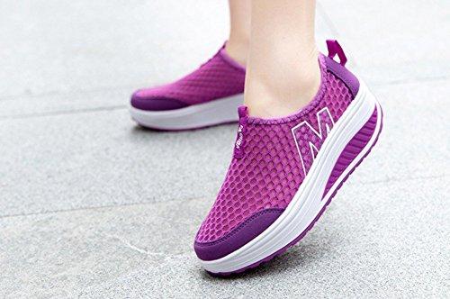 Vrouwen Hoogte Toenemende Schoenen Zomer Casual Platform Swing Wedges Schoenen Paars